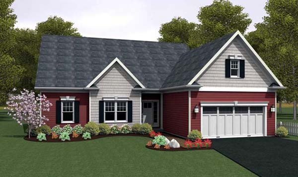 Ranch House Plan 54087 with 2 Beds, 2 Baths, 2 Car Garage Elevation