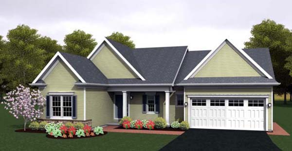 Ranch House Plan 54088 with 3 Beds, 2 Baths, 2 Car Garage Elevation