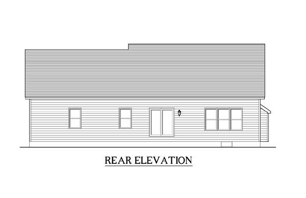Ranch House Plan 54088 with 3 Beds, 2 Baths, 2 Car Garage Rear Elevation