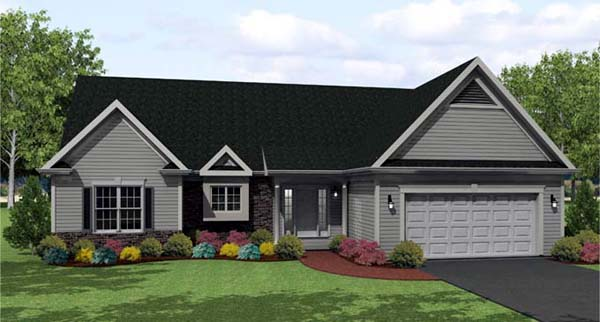 Ranch House Plan 54089 with 3 Beds, 2 Baths, 2 Car Garage Elevation