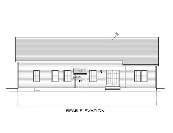 Ranch House Plan 54089 with 3 Beds, 2 Baths, 2 Car Garage Rear Elevation