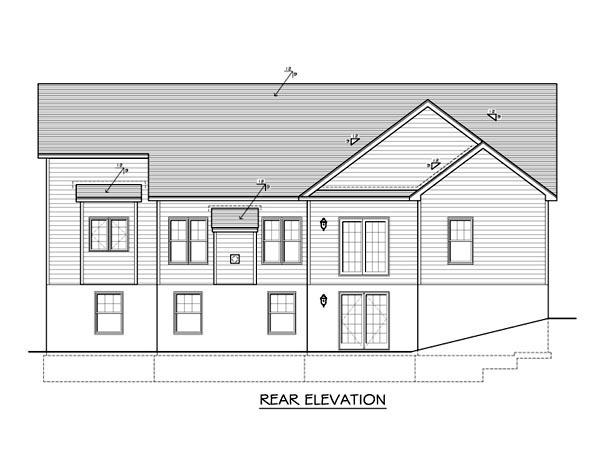 Ranch House Plan 54090 Rear Elevation