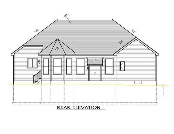 Ranch House Plan 54091 Rear Elevation