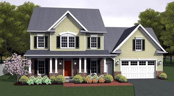 Country Farmhouse Southern House Plan 54095 Elevation