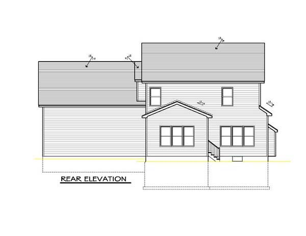 Country Farmhouse Southern House Plan 54095 Rear Elevation