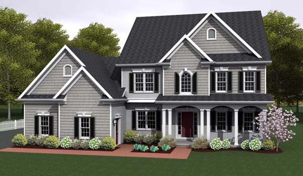 House Plan 54096 with 4 Beds, 3 Baths, 3 Car Garage Elevation