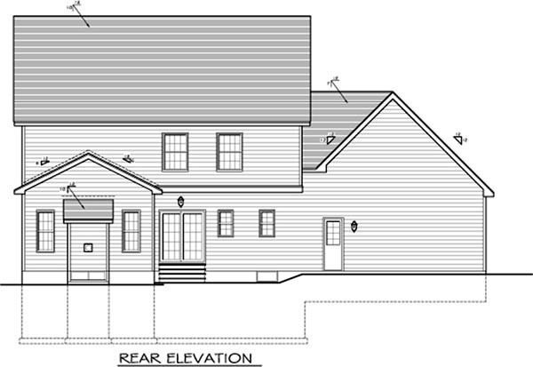 House Plan 54096 with 4 Beds, 3 Baths, 3 Car Garage Rear Elevation