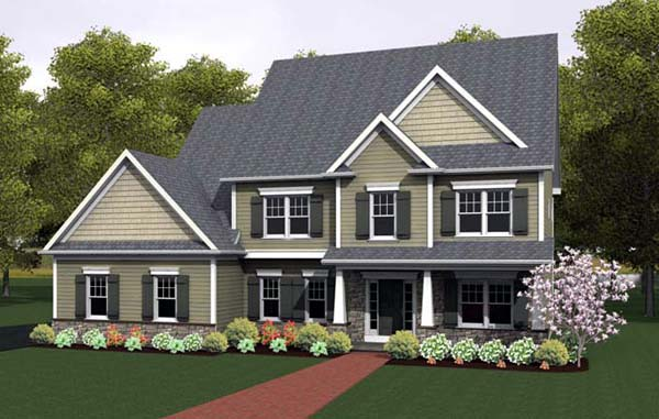 House Plan 54097 with 4 Beds, 3 Baths, 2 Car Garage Elevation