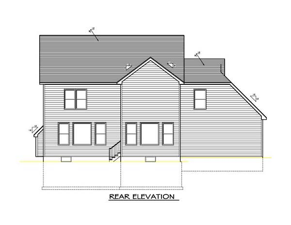 House Plan 54097 with 4 Beds, 3 Baths, 2 Car Garage Rear Elevation