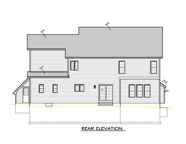 House Plan 54099 with 4 Beds, 3 Baths, 2 Car Garage Rear Elevation