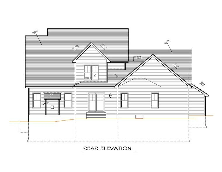 Cape Cod House Plan 54120 Rear Elevation