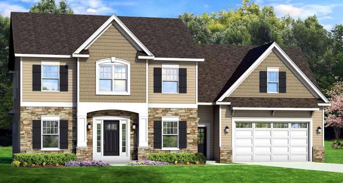 Traditional House Plan 54123 with 4 Beds, 3 Baths, 2 Car Garage Elevation