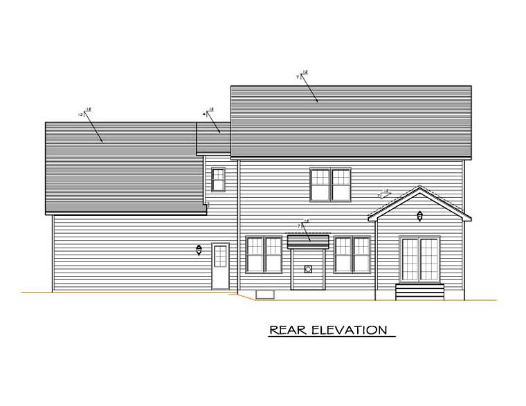 Traditional House Plan 54123 with 4 Beds, 3 Baths, 2 Car Garage Rear Elevation