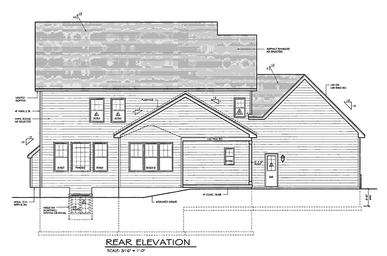Traditional House Plan 54139 Rear Elevation