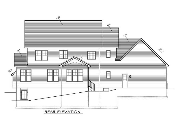 Traditional House Plan 54141 Rear Elevation