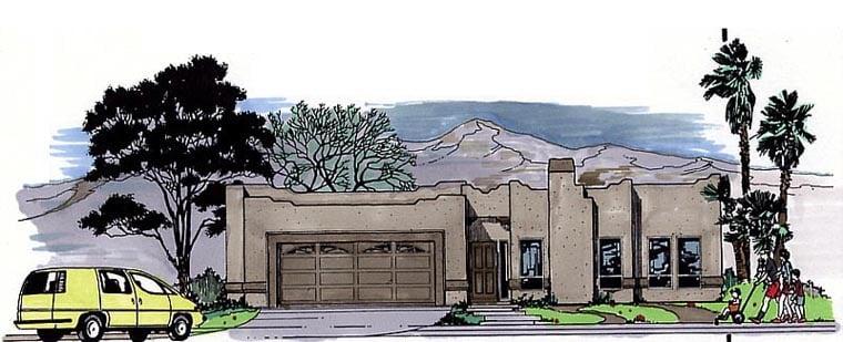 Santa Fe Southwest House Plan 54604 Elevation