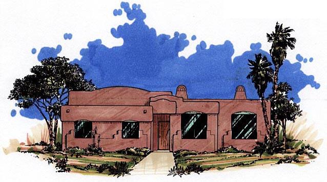 Elevation of Santa Fe   Southwest   House Plan 54606