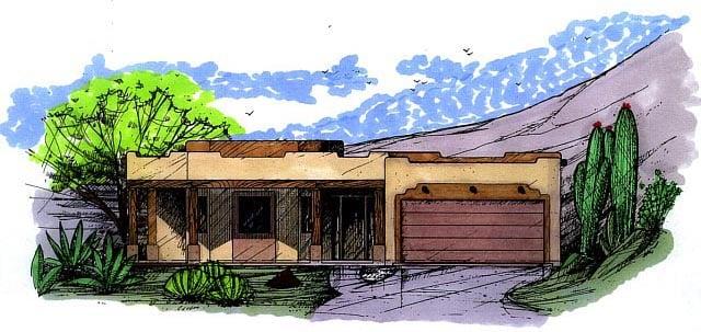Santa Fe Southwest House Plan 54607 Elevation