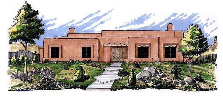 Santa Fe, Southwest House Plan 54611 with 3 Beds, 2 Baths, 2 Car Garage Elevation