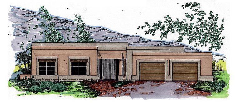 Santa Fe Southwest House Plan 54615 Elevation
