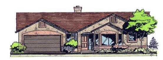 Contemporary Southwest House Plan 54676 Elevation