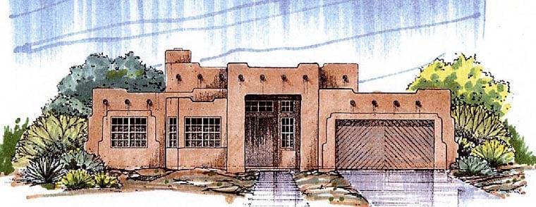 Santa Fe Southwest House Plan 54678 Elevation