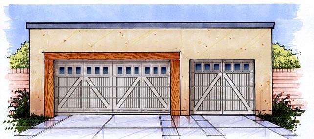 3 Car Garage Plan 54792 Elevation