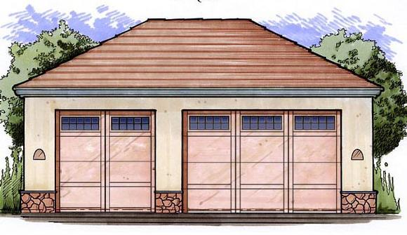 3 Car Garage Plan 54796 Elevation
