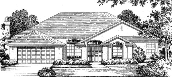 Florida, Mediterranean House Plan 54819 with 3 Beds, 2.5 Baths, 2 Car Garage Elevation