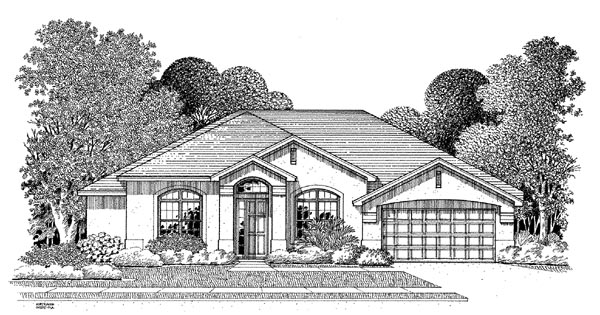 Florida House Plan 54904 with 4 Beds, 3 Baths, 2 Car Garage Elevation