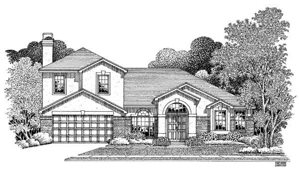 Florida House Plan 54905 with 4 Beds, 2.5 Baths, 2 Car Garage Elevation