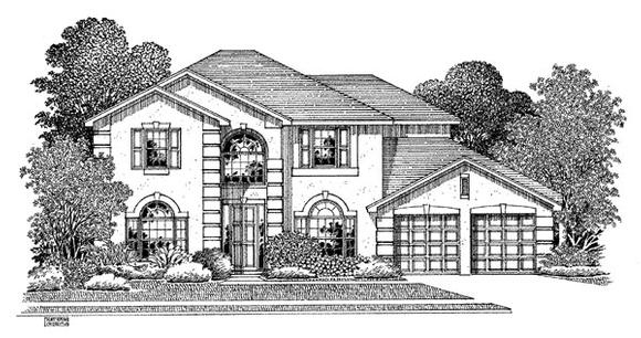 Mediterranean House Plan 54906 with 5 Beds, 3 Baths, 2 Car Garage Elevation