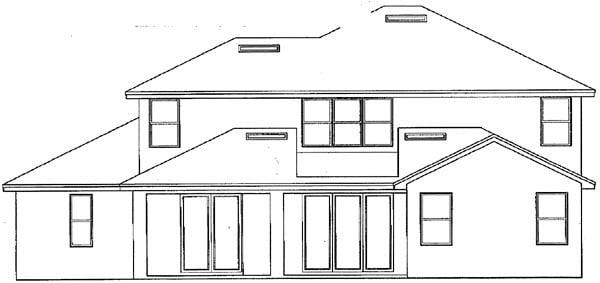 Mediterranean House Plan 54906 with 5 Beds, 3 Baths, 2 Car Garage Rear Elevation