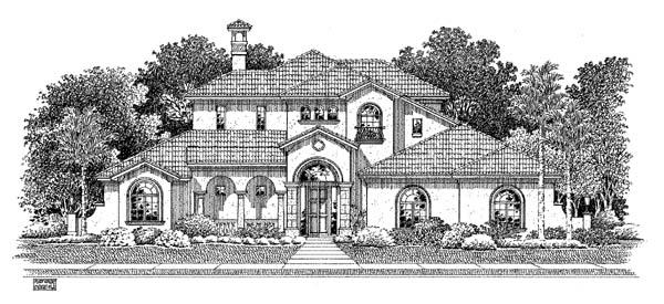 Mediterranean House Plan 54909 with 3 Beds, 3 Baths, 2 Car Garage Elevation
