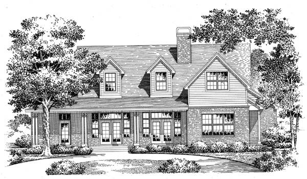 Country House Plan 54912 with 3 Beds, 3 Baths, 2 Car Garage Elevation
