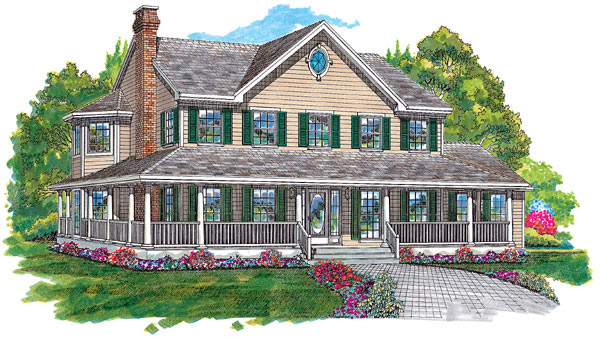 Bungalow, Country, Southern House Plan 55005 with 4 Beds, 3 Baths, 2 Car Garage Elevation
