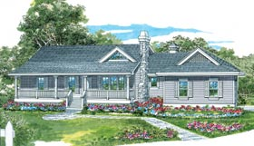 Country House Plan 55017 with 3 Beds, 2 Baths, 2 Car Garage Elevation