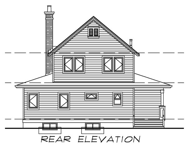 Rear Elevation of Farmhouse  Narrow Lot   Vacation   House Plan 55028