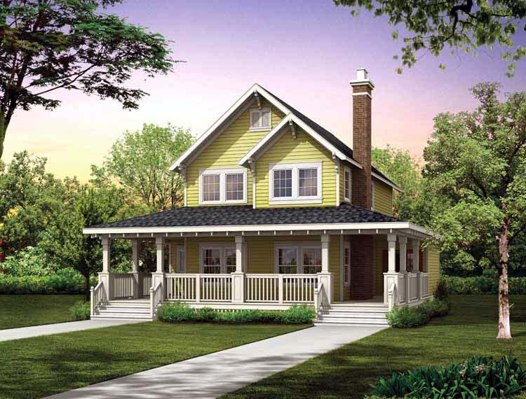 House Plan 55028 Farmhouse Narrow Lot Vacation Plan With