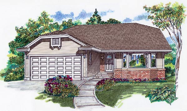 Narrow Lot, One-Story, Ranch House Plan 55066 with 2 Beds, 2 Baths, 2 Car Garage Elevation