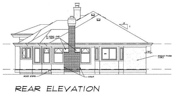 Florida House Plan 55083 Rear Elevation