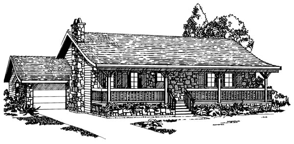 Ranch House Plan 55145 Elevation