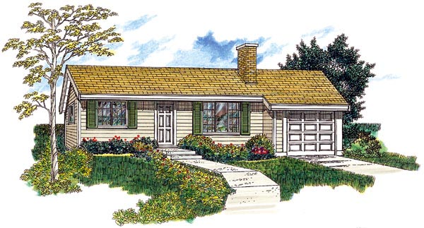 Ranch House Plan 55153 Elevation