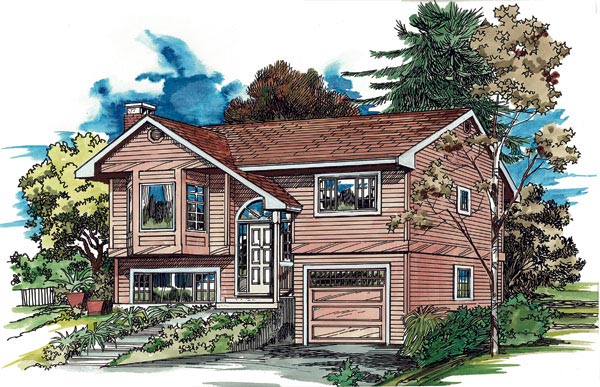 Narrow Lot, One-Story, Traditional House Plan 55171 with 3 Beds, 2 Baths, 1 Car Garage Elevation