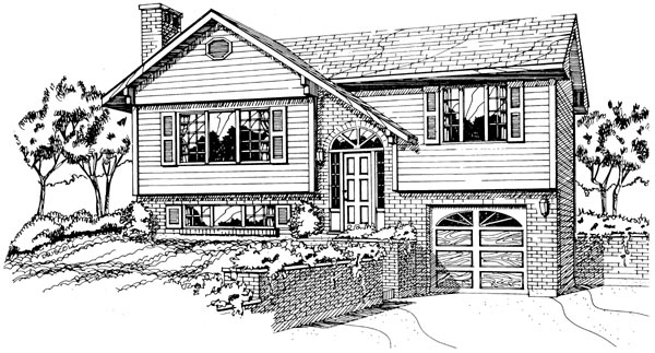 Elevation of Saltbox   House Plan 55185