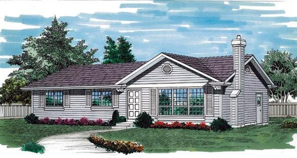 One-Story, Ranch House Plan 55256 with 3 Beds, 2 Baths, 1 Car Garage Elevation