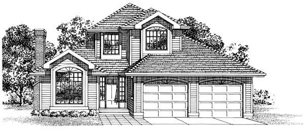 European House Plan 55282 Elevation