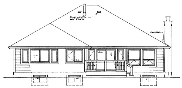 Traditional House Plan 55336 Rear Elevation