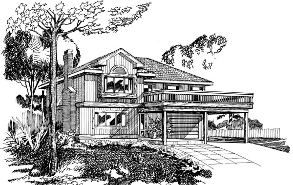 Narrow Lot, Traditional House Plan 55377 with 3 Beds, 2 Baths, 1 Car Garage Elevation