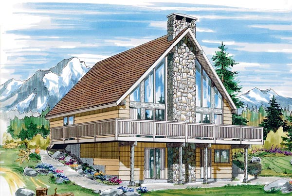 House plan 55380 at for Free a frame cabin plans